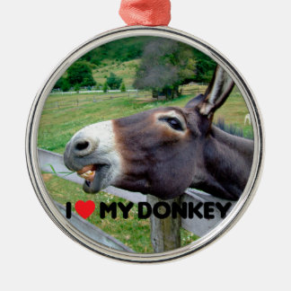 I Love My Donkey Funny Mule Farm Animal Silver-Colored Round Decoration