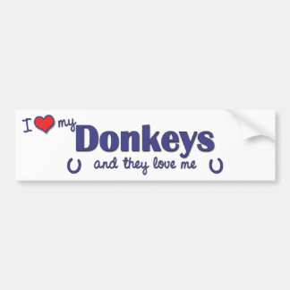 I Love My Donkeys (Multiple Donkeys) Car Bumper Sticker