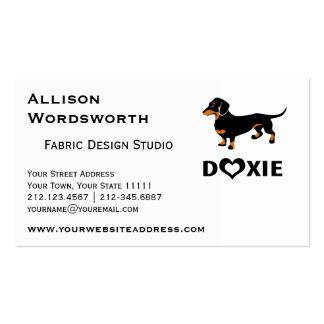 I Love My Doxie Dog - Cute Dachshund Business Card Templates