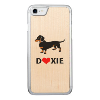 I Love My Doxie Dog - Cute Dachshund with Heart Carved iPhone 8/7 Case