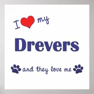 I Love My Drevers Multiple Dogs Print