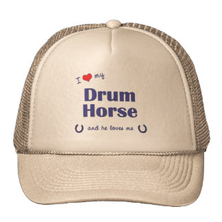 I Love My Drum Horse Male Horse Mesh Hats