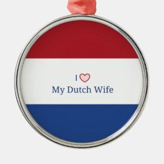 I Love My Dutch Wife - Flag of Netherlands Christmas Ornament