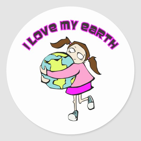 I Love My Earth Classic Round Sticker