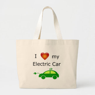 I Love My Electric Car Large Tote Bag