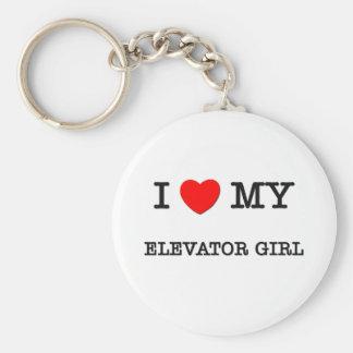 I Love My ELEVATOR GIRL Basic Round Button Key Ring