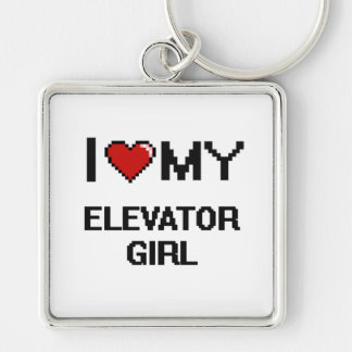 I love my Elevator Girl Silver-Colored Square Key Ring