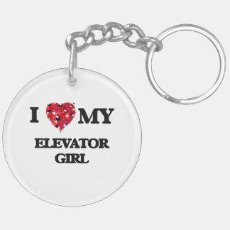 I love my Elevator Girl Double-Sided Round Acrylic Key Ring