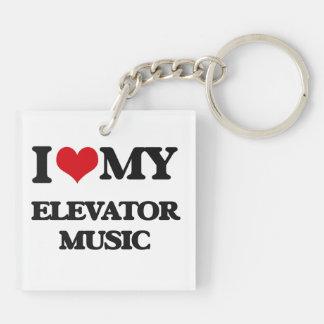 I Love My ELEVATOR MUSIC Square Acrylic Key Chains