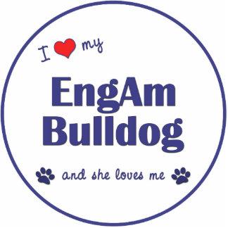 I Love My EngAm Bulldog (Female Dog) Photo Sculpture Decoration