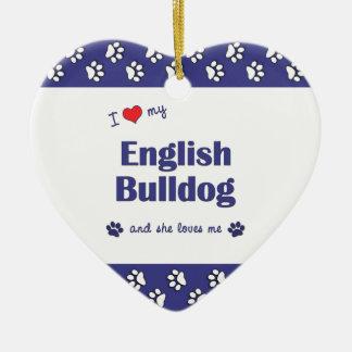 I Love My English Bulldog (Female Dog) Christmas Ornament