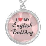 I Love My English Bulldog Pawprint Necklaces