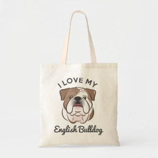 """I Love My English Bulldog"" Tote Bag"