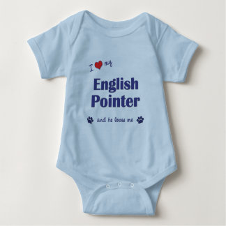 I Love My English Pointer (Male Dog) Baby Bodysuit