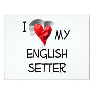 I Love My English Setter 11 Cm X 14 Cm Invitation Card