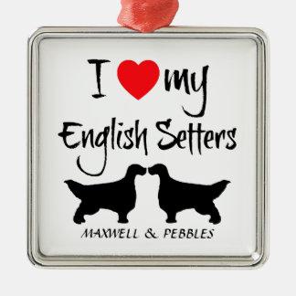 I Love My English Setter Dogs Christmas Ornament