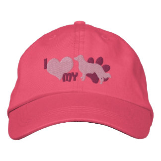 I Love my English Shepherd Embroidered Hat (Pink)