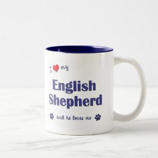 I Love My English Shepherd (Male Dog) Two-Tone Coffee Mug