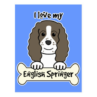 I Love My English Springer Postcard