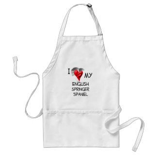I Love My English Springer Spaniel Aprons