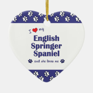 I Love My English Springer Spaniel (Female Dog) Double-Sided Heart Ceramic Christmas Ornament