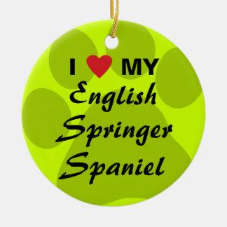 I Love My English Springer Spaniel Round Ceramic Decoration