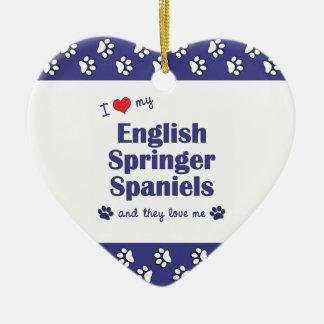 I Love My English Springer Spaniels (Multi Dogs) Ceramic Heart Decoration