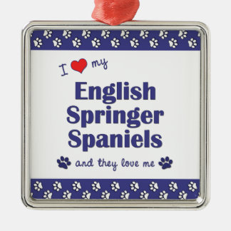 I Love My English Springer Spaniels (Multi Dogs) Square Metal Christmas Ornament
