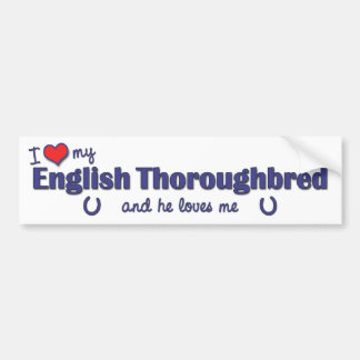 I Love My English Thoroughbred (Male Horse) Bumper Sticker