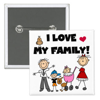 I Love My Family Tshirts and Gifts 15 Cm Square Badge