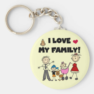 I Love My Family Tshirts and Gifts Basic Round Button Key Ring