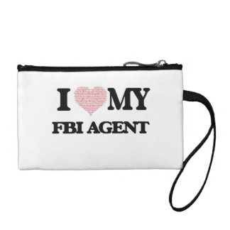 I love my Fbi Agent (Heart Made from Words) Coin Purses
