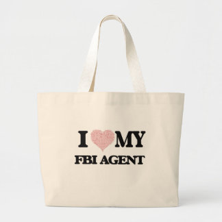 I love my Fbi Agent (Heart Made from Words) Jumbo Tote Bag