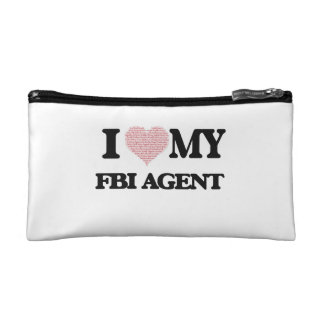 I love my Fbi Agent (Heart Made from Words) Makeup Bags