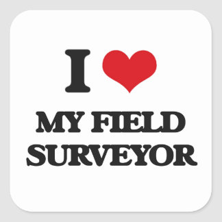 I Love My Field Surveyor Square Sticker