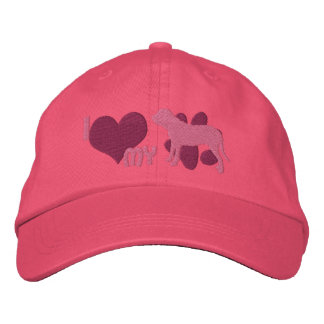 I Love my Fila Brasileiro Embroidered Hat (Pink)