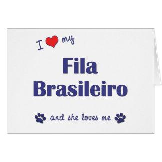 I Love My Fila Brasileiro Female Dog Cards