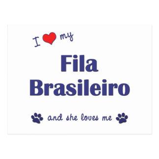 I Love My Fila Brasileiro Female Dog Post Cards