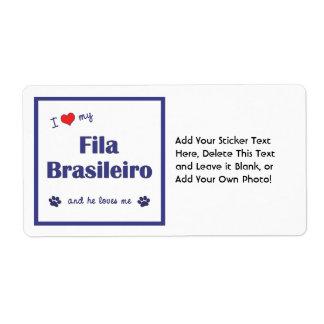 I Love My Fila Brasileiro (Male Dog) Shipping Label