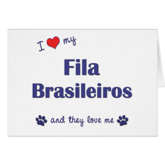 I Love My Fila Brasileiros Multiple Dogs Cards