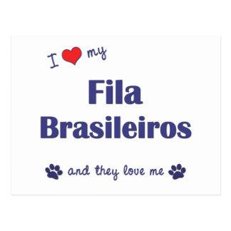 I Love My Fila Brasileiros Multiple Dogs Postcard