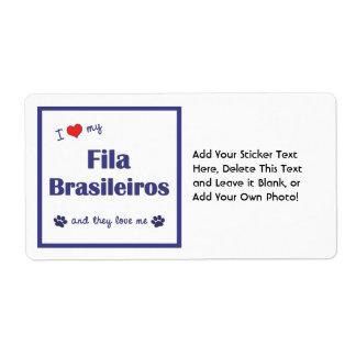 I Love My Fila Brasileiros (Multiple Dogs) Shipping Label