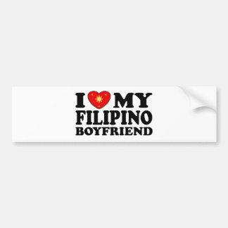 I Love My Filipino Boyfriend Car Bumper Sticker