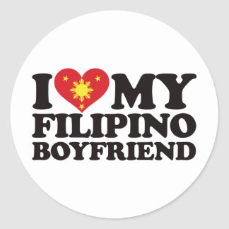 I Love My Filipino Boyfriend Classic Round Sticker