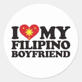 I Love My Filipino Boyfriend Round Sticker