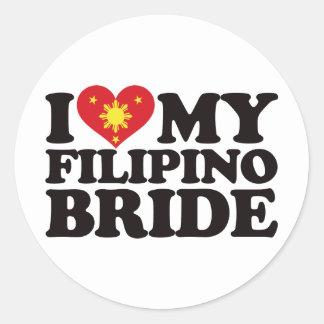 I Love My Filipino Bride Round Sticker
