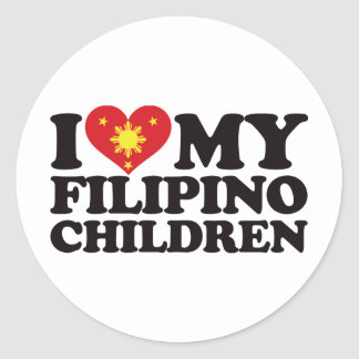 I Love My Filipino Children Round Sticker