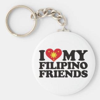 I Love My Filipino Friends Basic Round Button Key Ring