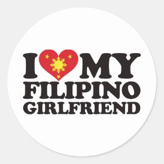 I Love My Filipino Girlfriend Round Sticker