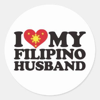 I Love My Filipino Husband Round Sticker